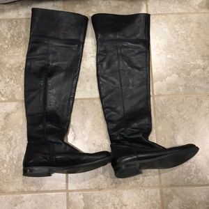 Black over the knees leather boots by Aldo